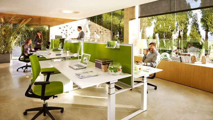 Awesome open plan office coordinated with green panels and for Cool office layouts