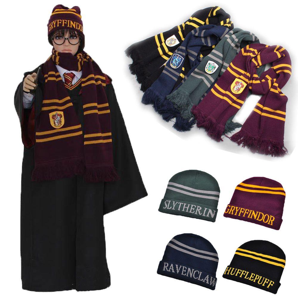 65732406456 Harry Potter Soft-Warm-Scarf Beanie Knit-Hat Gryffindor Ravenclaw ...