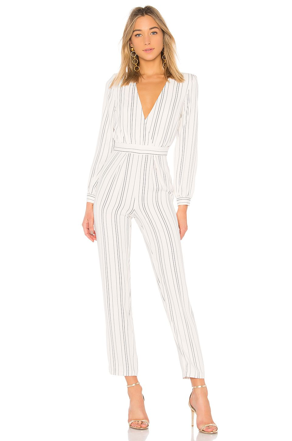 b68cf25594 Lovers + Friends Study Abroad Jumpsuit in White Pinstripe