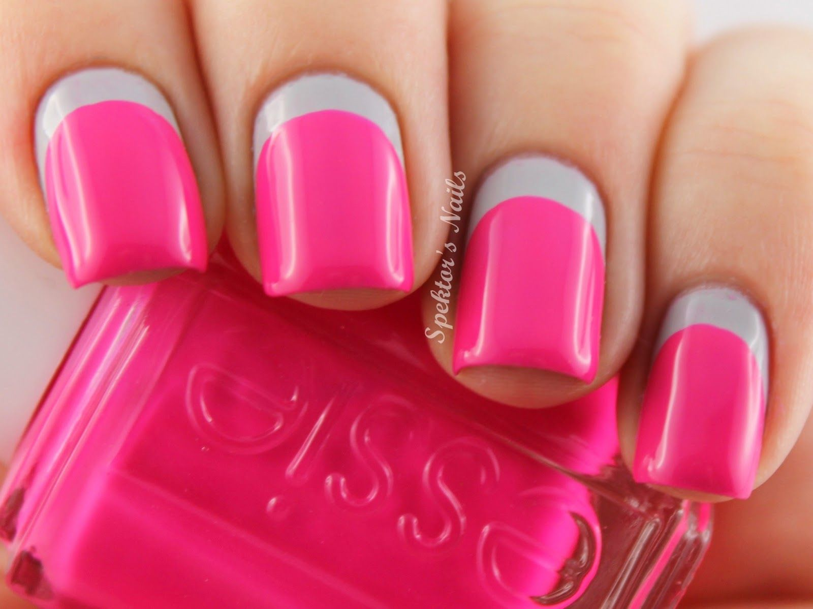 Like the hot pink with gray | Pink Nails | Pinterest | Hot pink ...