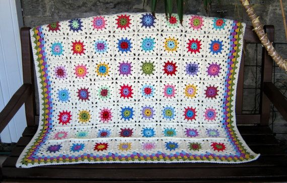 Crochet Afghan Blanket Sunburst Crochet Flowers Granny Squares Instant Download PDF Pattern