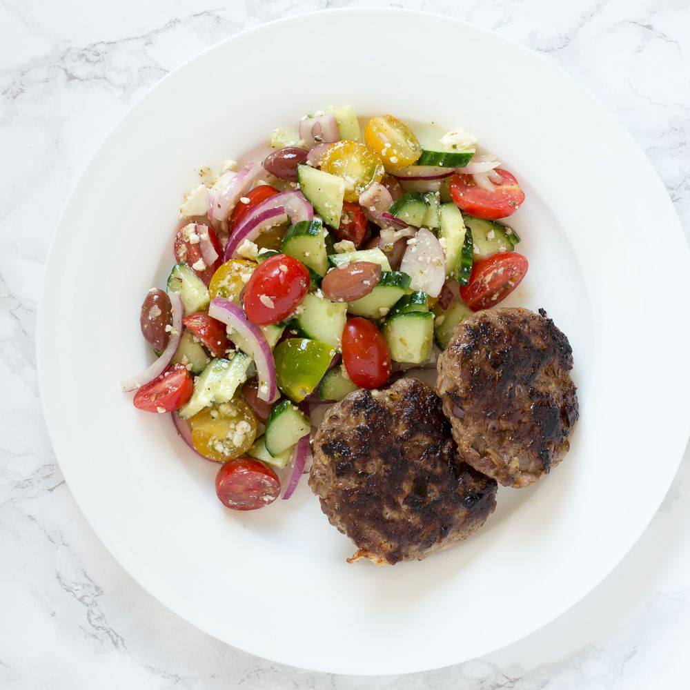Beef Burger Patties with Greek Salad images