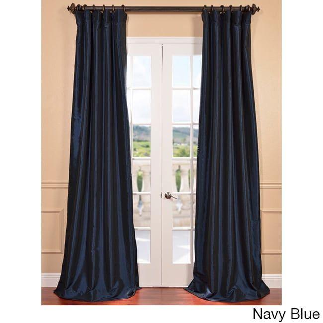 Faux Silk Taffeta Solid Blackout Single Curtain Panel (50