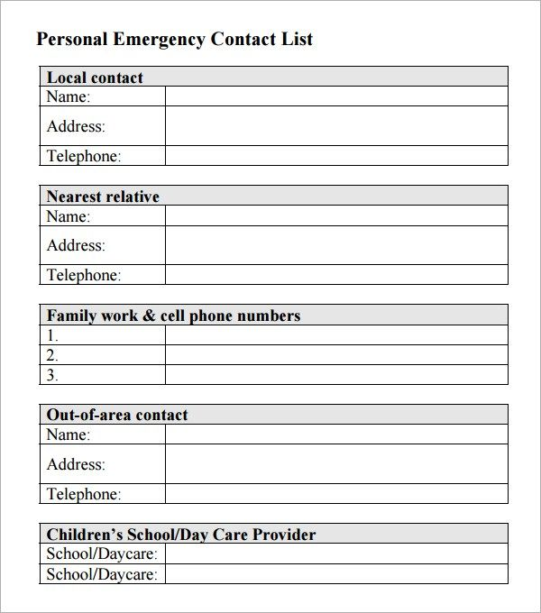 Emergency Contact List Emergency Contact List Emergency Contact