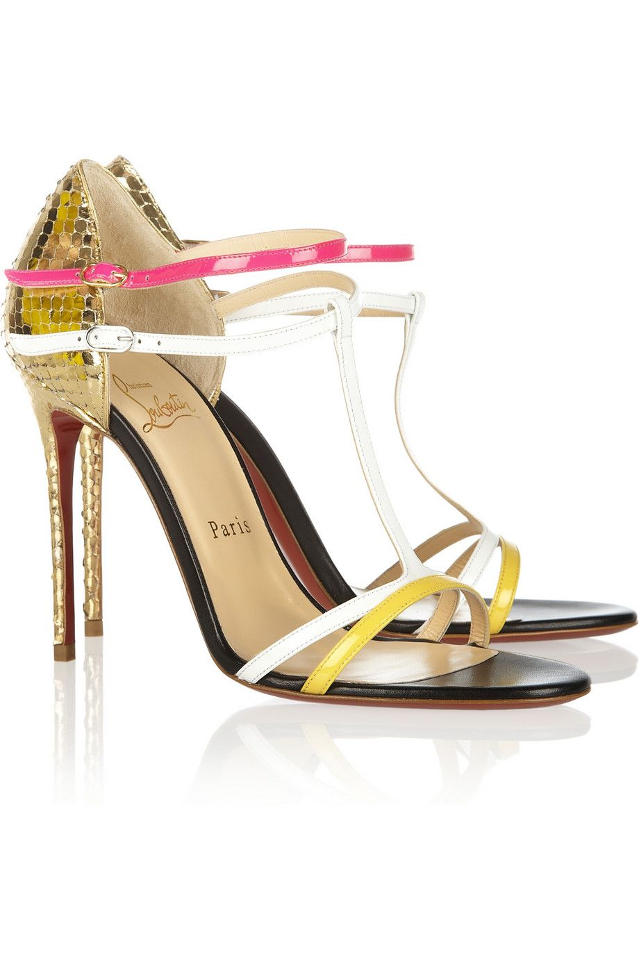 5c284943e3eb Christian Louboutin Arnold 100 patent-leather and mirrored-python sandals -  ShopStyle