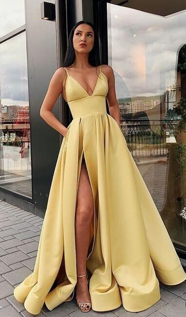 Sexy Long Prom Dress With Slit, Popular Evening Dress ,Fashion Winter Formal Dress PDP0007 #fancydress