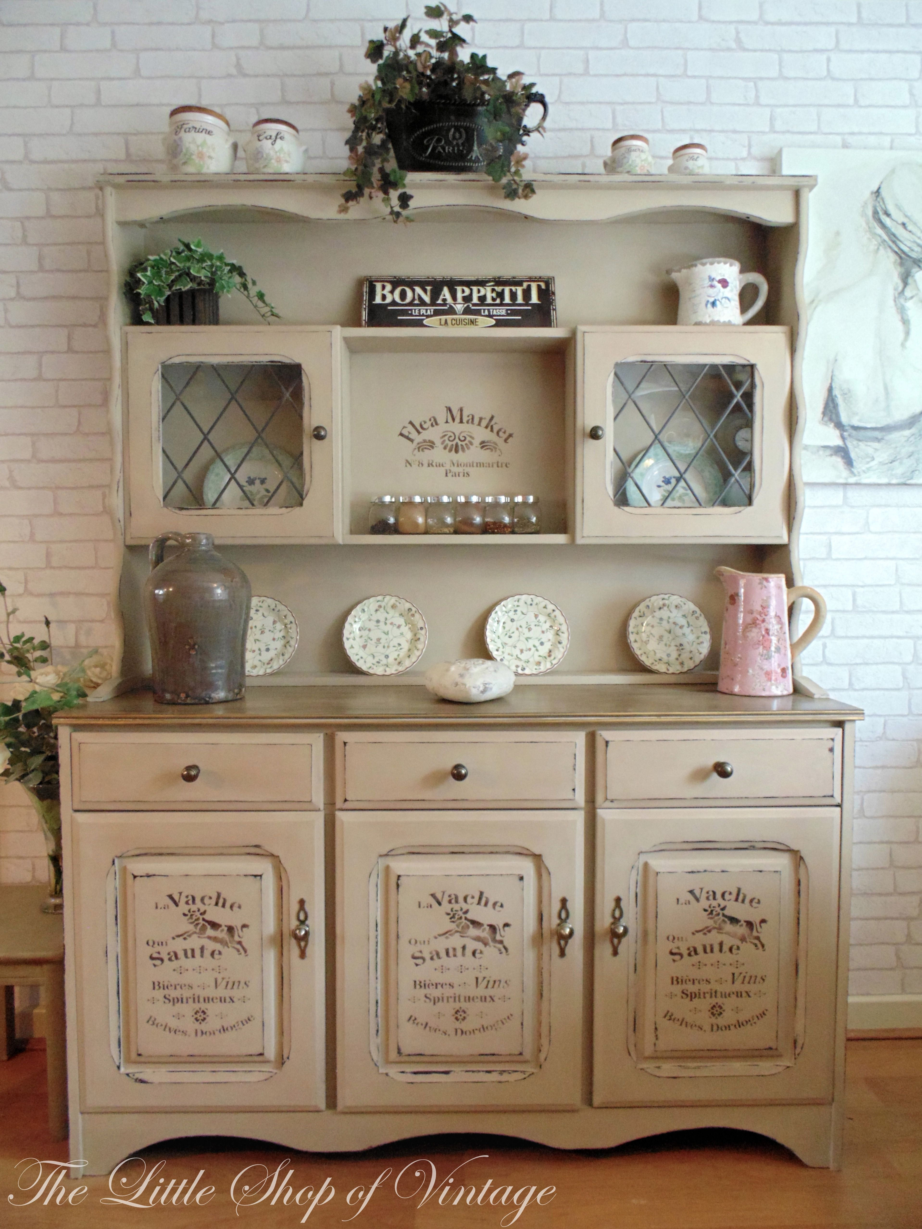 Beautiful Shabby Chic Painted Welsh Dresser In Annie Sloan Country Grey French Style Stencils Lied