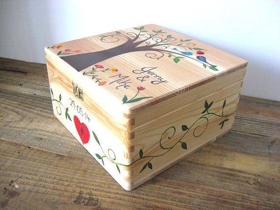 X Large Wedding keepsake box, Wedding memory box, Personalised, Hand ...