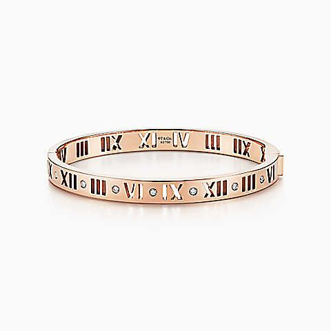 Atlas Narrow Pierced Hinged Bangle In 18k Rose Gold With Diamonds Medium