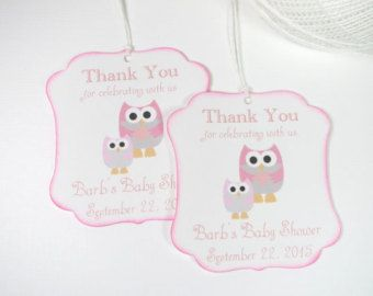 owl baby shower favor tags pink baby shower tags girl baby shower thank you