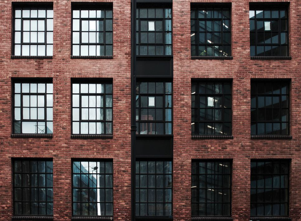 brick facade warehouse style windows Shoreditch Curtain Road
