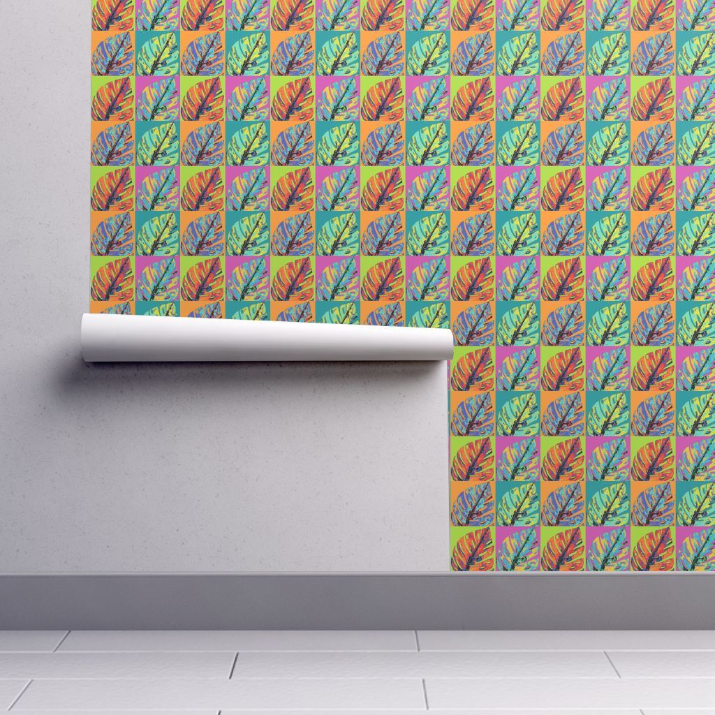 Isobar Durable Wallpaper featuring POP ART MONSTERA LEAVES