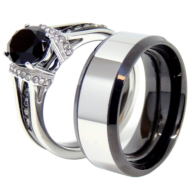 867a48b3192 Lanyjewelry Couple Rings Set Womens Oval Black CZ Light Black Two ...