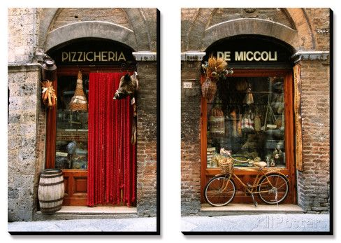Bicycle Parked Outside Historic Food Store, Siena, Tuscany, Italy Prints By  John Elk