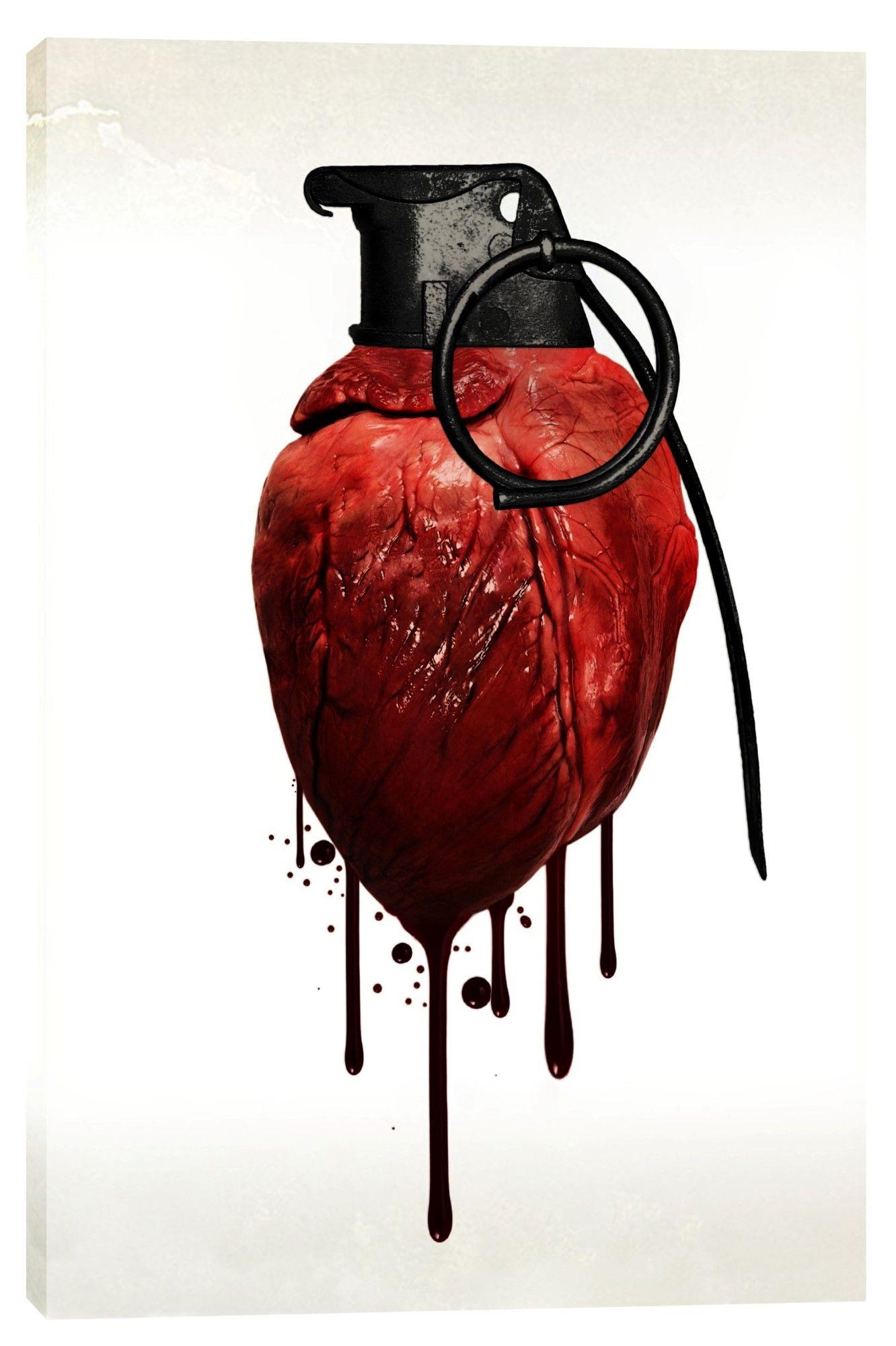 Heart grenade giclee canvas wall art heart art love