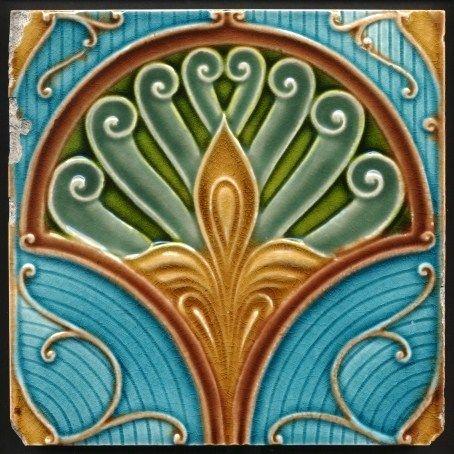 Decorative Ceramic Tile 4 25 X 4 25 Inches Illustration Vintage Art Nouveau 32 Sanat Ortacag Antika