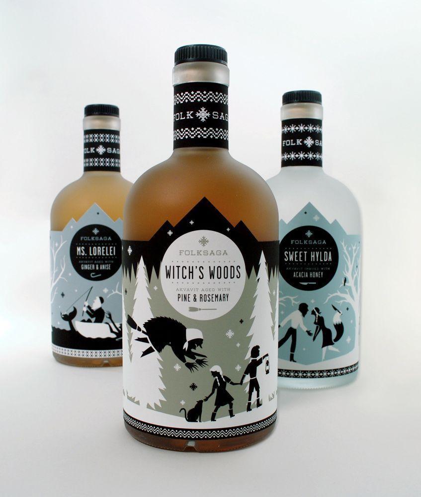 Designed by Caleb Heisey (Student) - Folksaga is a Swedish distillery of akvavit, a traditional scandinavian liquor