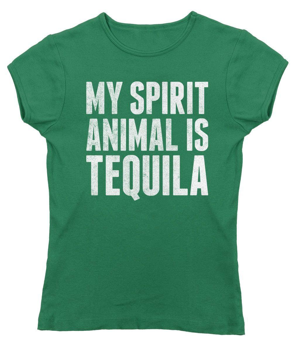 Women's My Spirit Animal is Tequila T-Shirt - Juniors Fit - Cinco De Mayo Drinking
