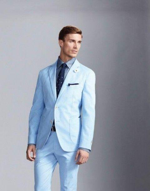 2017 Latest Light Blue Groom Tuxedos 2 Piece Wedding Prom Dinner ...