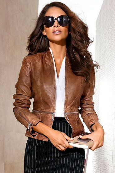 840216c397582c Add a little edge to your look with the Heine Zip Detail Leather Jacket in  cognac