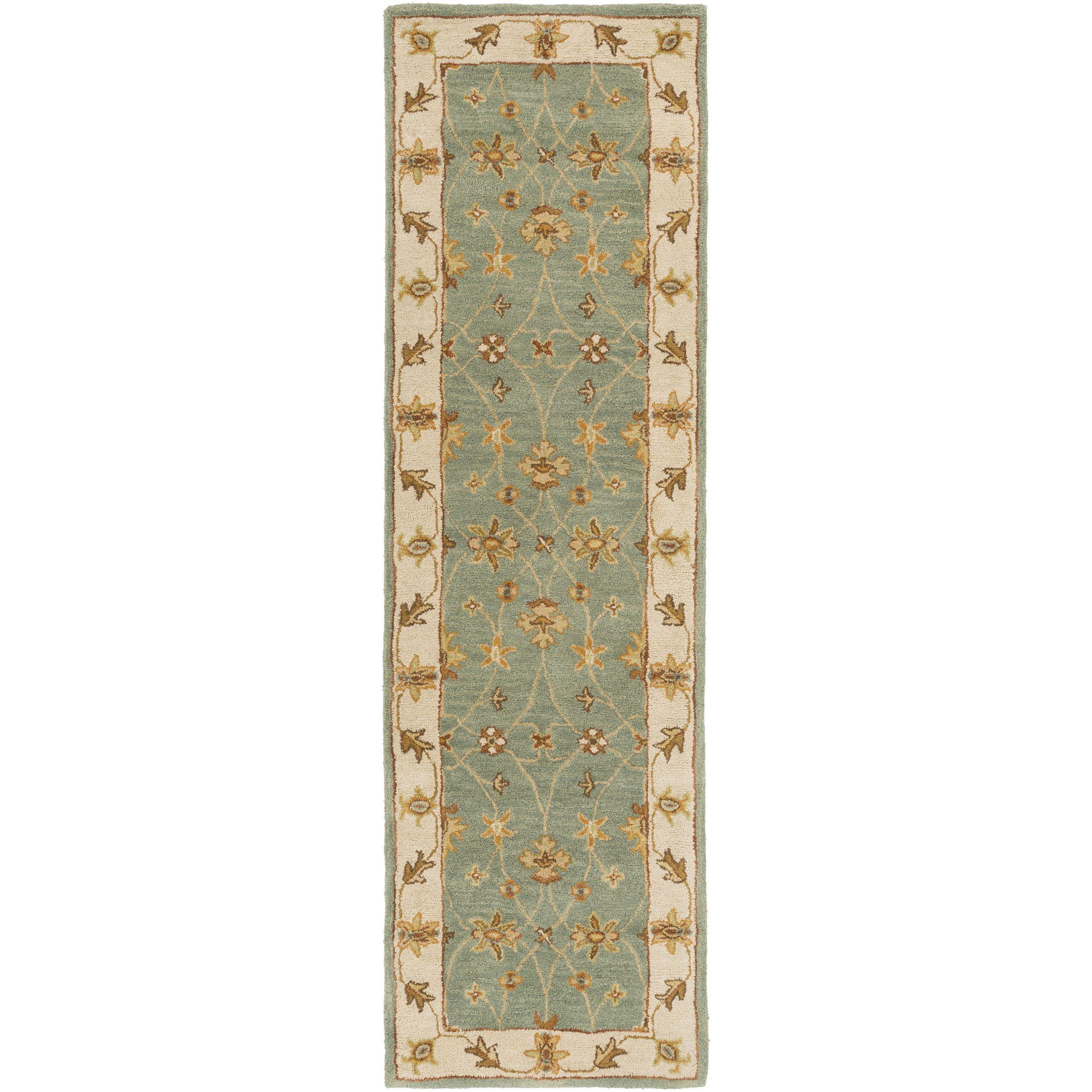 Surya Hand-Tufted Isamu Bordered Wool Rug (2'3 x 14') (Green-(2'3x14')), Green, Size 2' x 14'