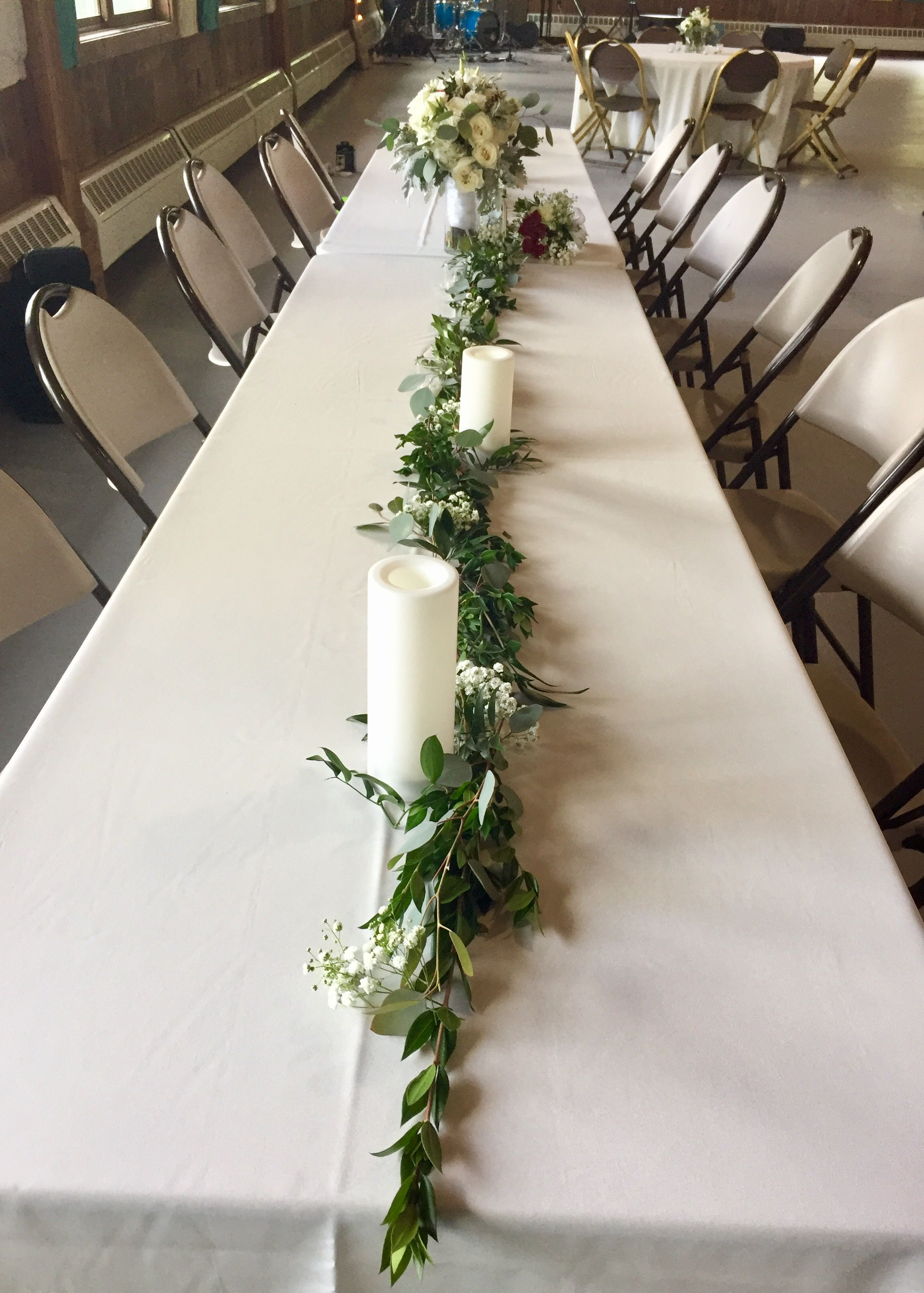 This Is Similar To The General Look For Near Candles But Not As A Garland More As A General Clu Wedding Table Wedding Table Decorations Wedding Centerpieces