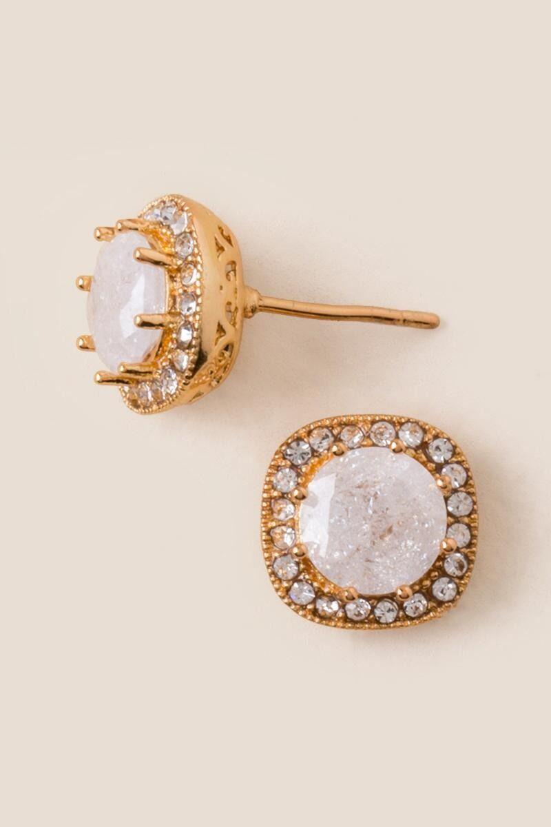 2fbdaec5087e Cute   Stylish Earrings for Women. Lainey Cubic Zirconia Crackle Stud  Earring