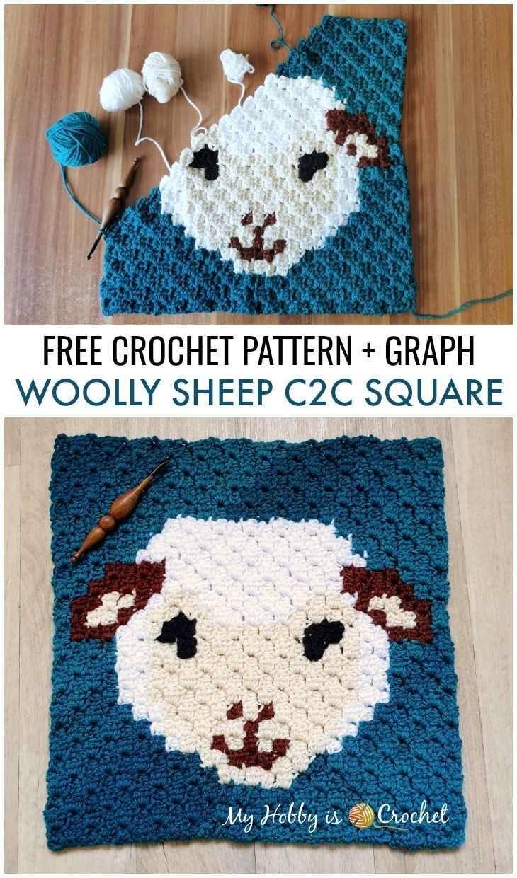 Woolly Sheep C2C Square - Free Crochet Pattern + Graph #eastercrochetpatterns
