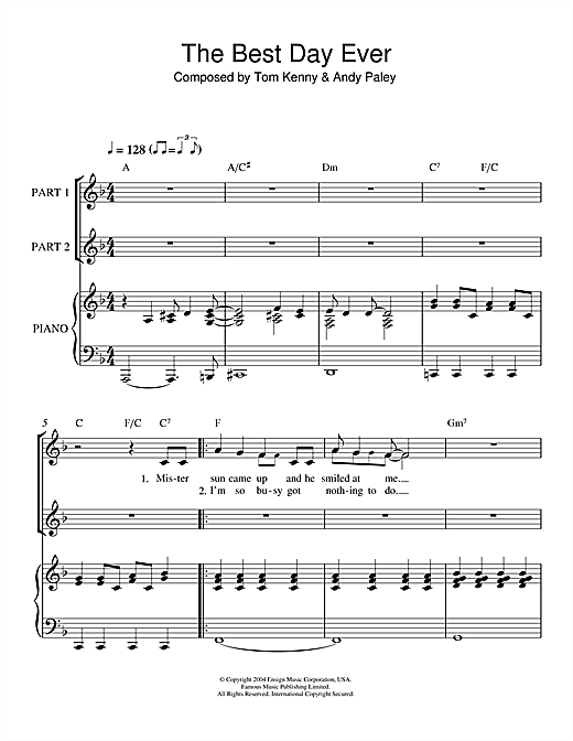 Tom Kenny Andy Paley The Best Day Ever From The Spongebob Squarepants Movie Sheet Music Notes Chords Score Download Printable Pdf In 2020 Sheet Music Notes Spongebob Songs Tom Kenny