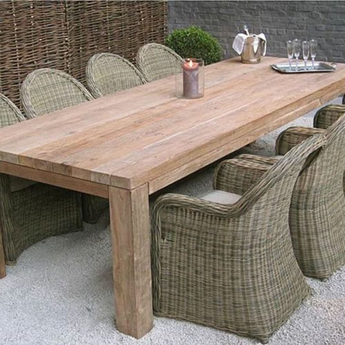 Table En Teck Recycle 300x110 Cm Callao Table Teck Table Exterieur Bois Table De Jardin