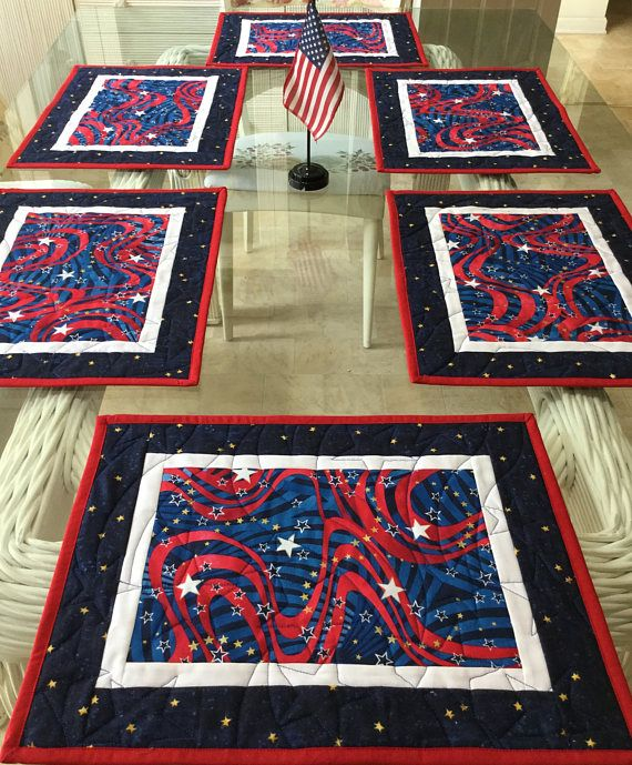 Quilted Placemats Holiday Placemats 4th Of July Placemats Etsy Place Mats Quilted Placemats Quilted Table Toppers