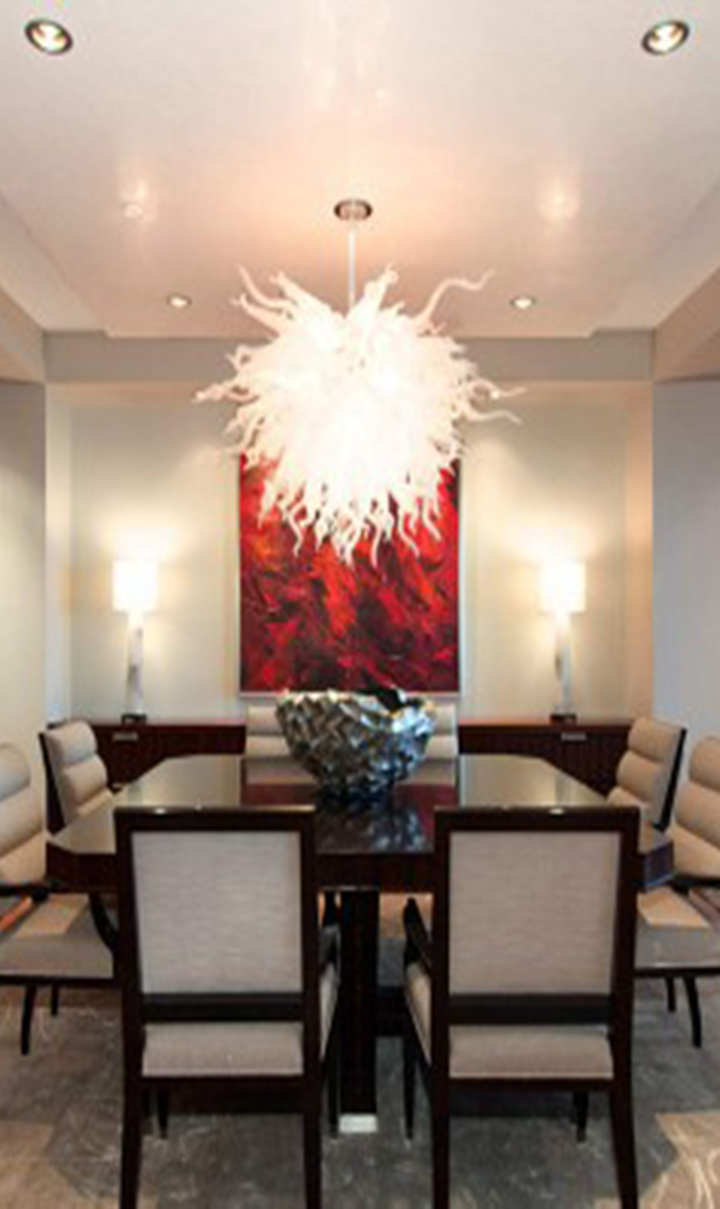 Dining Area with simple chairs, bold wall art and ... on Living Room Wall Sconce Ideas For Dining Area id=85088