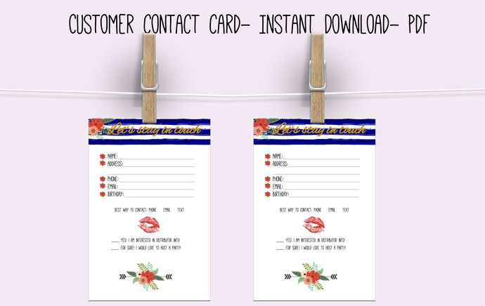 Customer Contact card Lips - direct sales - business - Customer - customer contact information form
