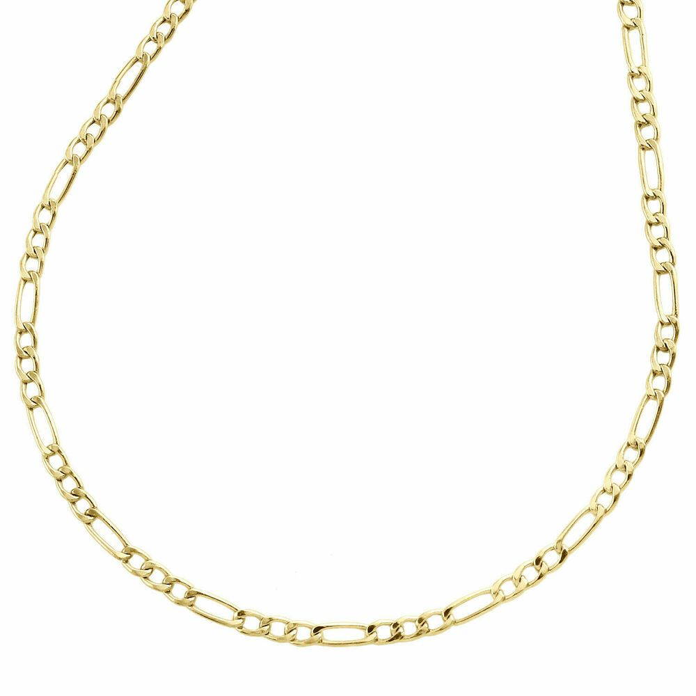 10k Yellow Gold Hollow Plain Fiagro Link Necklace Chain 2mm 20 20 Inch Men Womn Hollowplainfiagro Chains Necklace White Gold Diamond Earrings Link Necklace