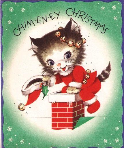 Santa Kitty Down the Chimney