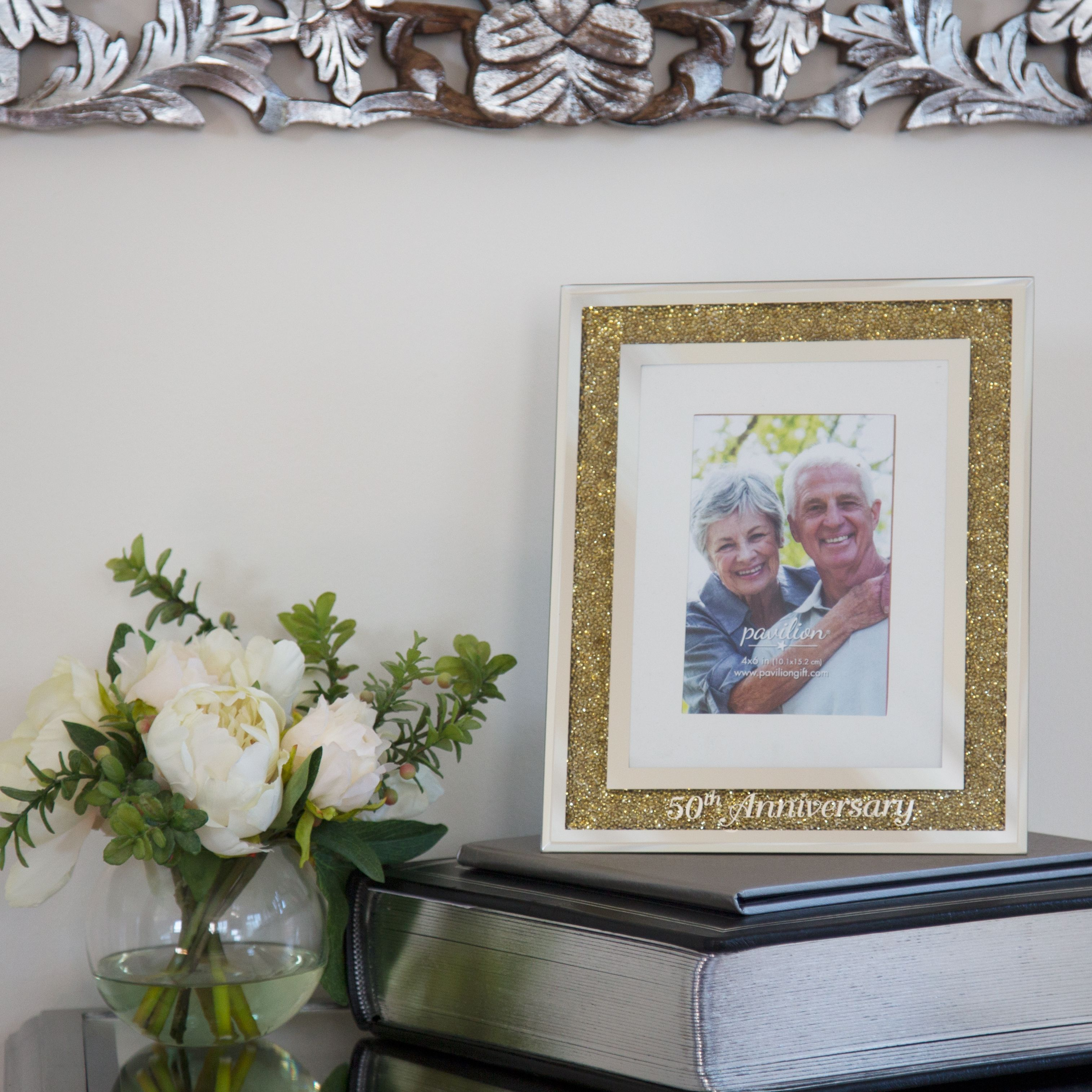 50th Anniversary Gold Bead Mirrored 4x6 Picture Frame | Glorious ...