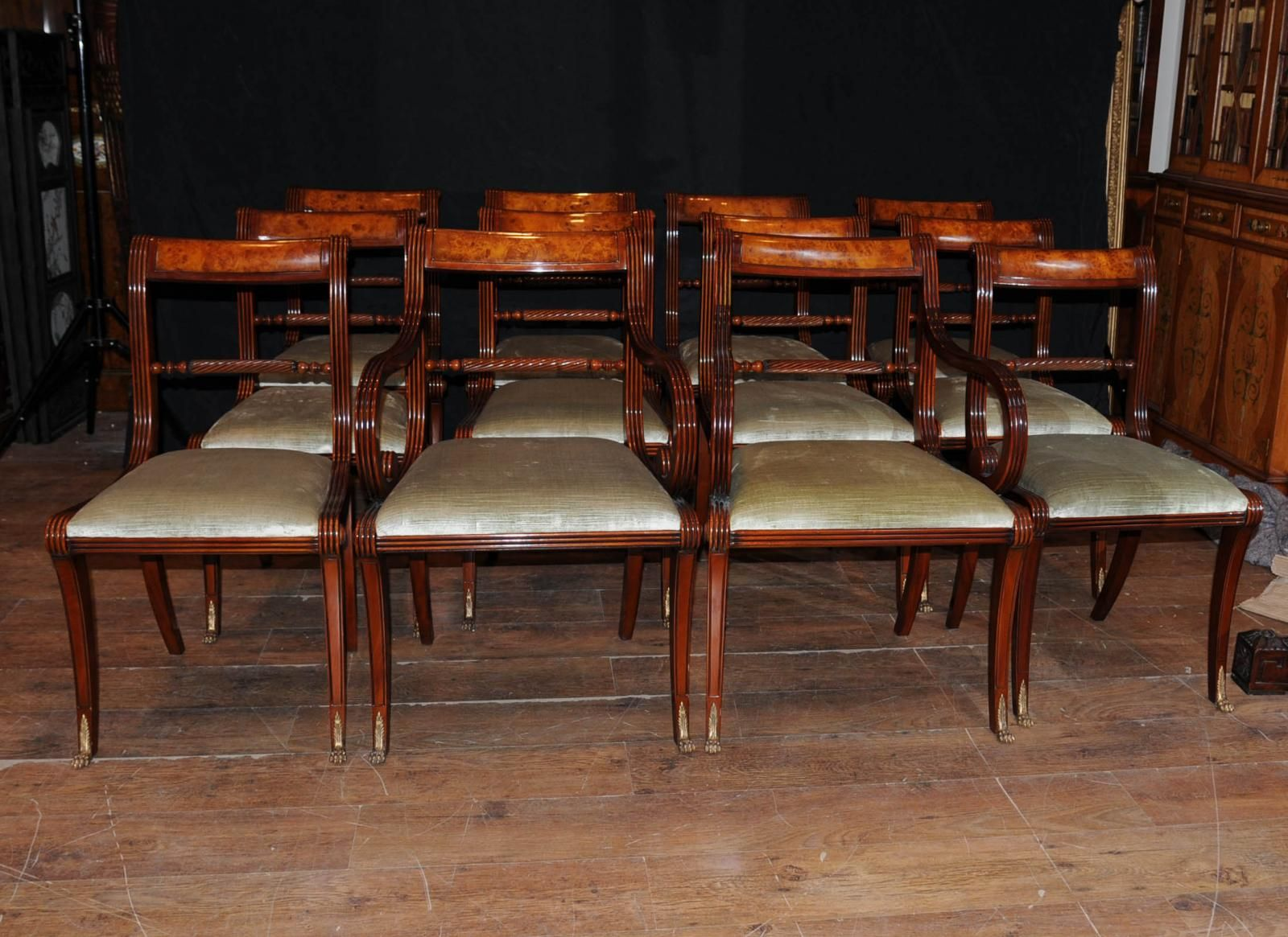 Set 12 English Regency Rope Back Dining Chairs