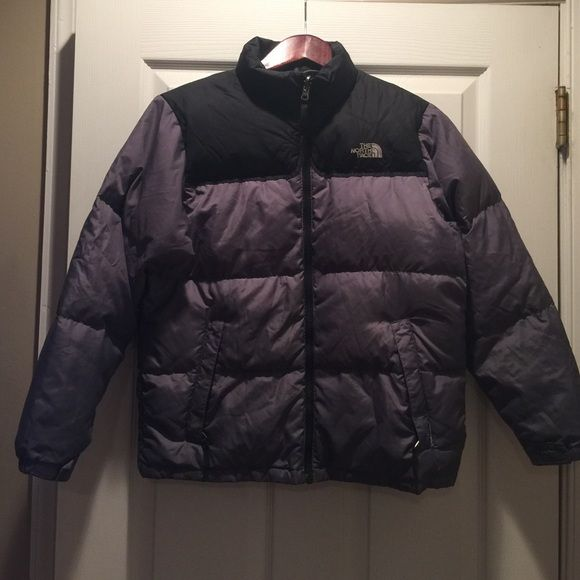 North Face Boys ☃ black and grey north face jacket.  I put up all the minor damages on this jacket . Please ask any questions ☃ filled 600 North Face Jackets & Coats Puffers