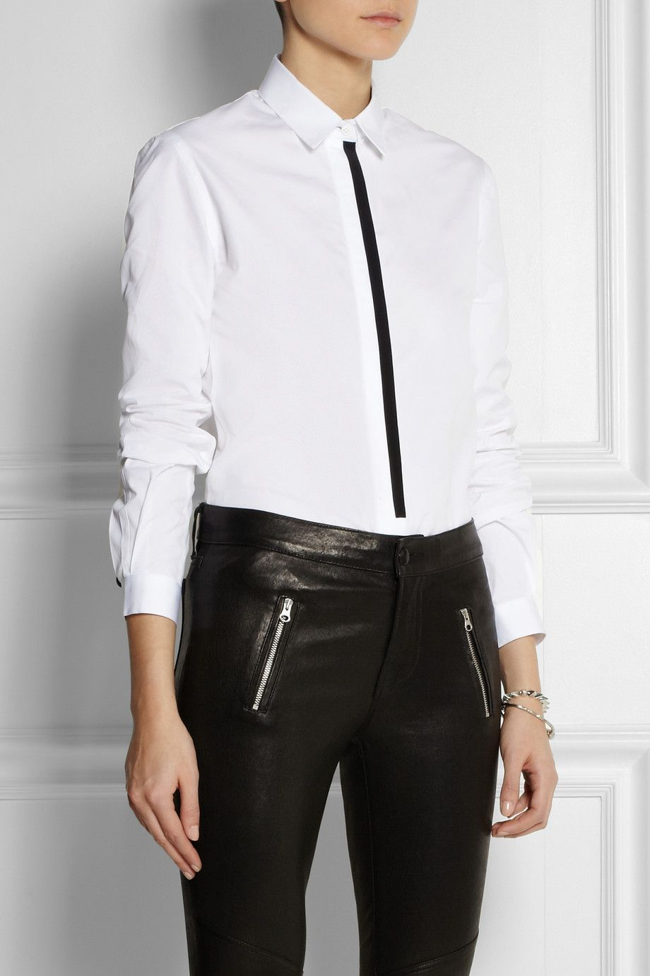 Joseph | Jin two-tone cotton-poplin shirt | NET-A-PORTER.COM