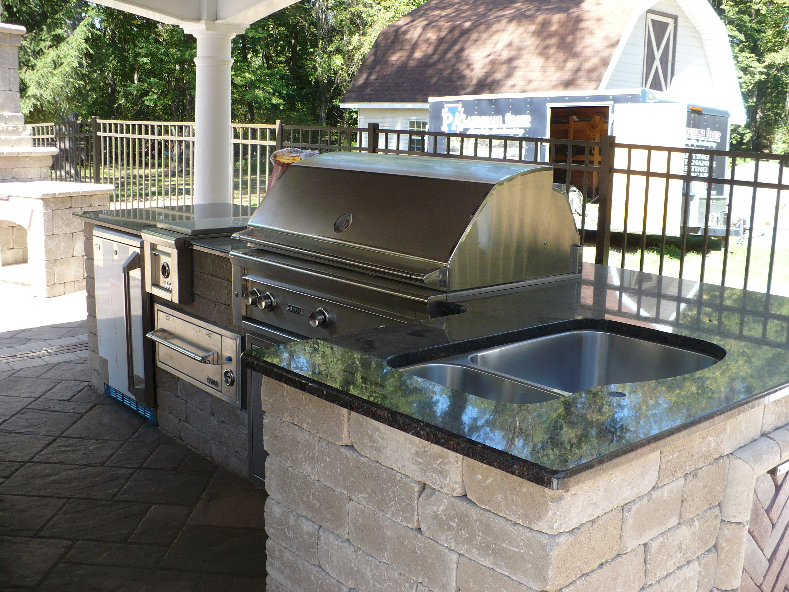 Grill sink outdoor kitchen outdoor living pinterest for Outdoor kitchen without grill