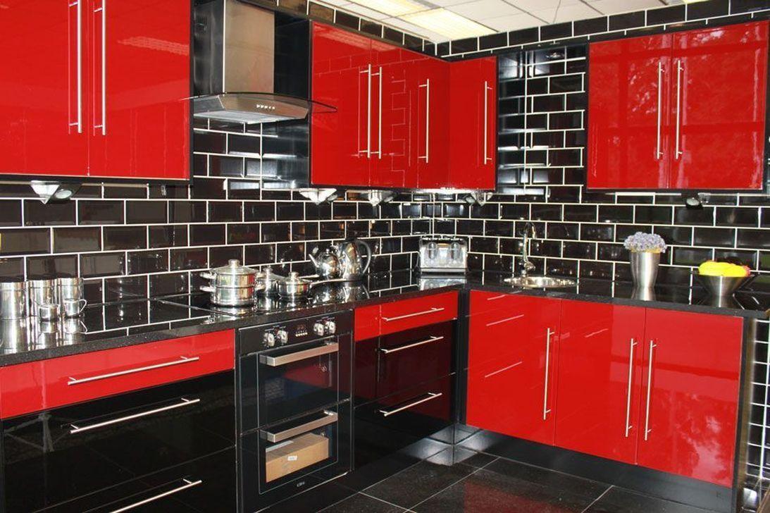 30 Catchy Monochrome Kitchen Themes Ideas For Decoration 2019 Trenduhome Red Kitchen Decor Kitchen Decor Blue Kitchen Decor