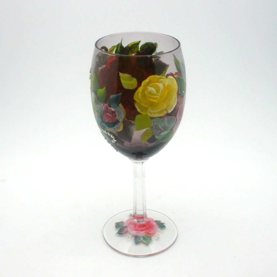 Hand painted Crystal Wine Glass - Garden of painted yellow pink red and purple roses - Unique freehand design - Romantic wine accessory. $18.00, via Etsy.  ~SOLD~