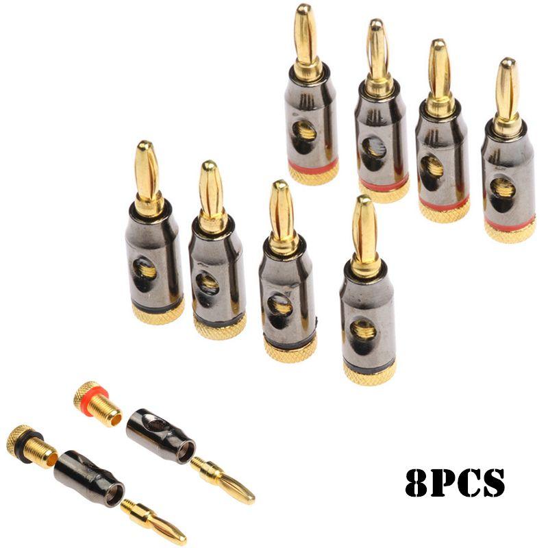 8pcs 24k Gold Plated Speaker Banana Plugs For Audio & Video ...