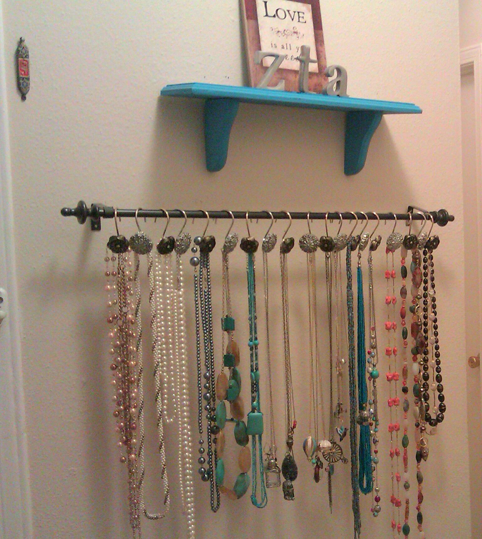 Diy Necklace Hanger I Bought A Curtain Rod And Intricate Shower