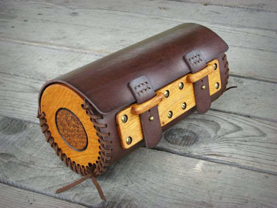 Hand sewn motorcycle Wood-Leather fork bag with carved by ShikShok - gardine für küche