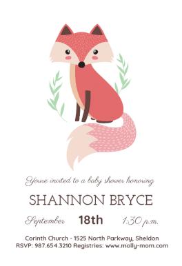 Fox Free Printable Baby Shower Invitation Template Greetings