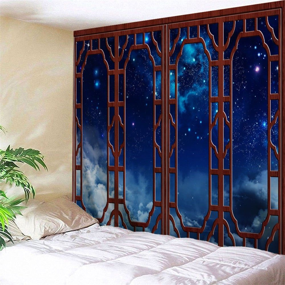 Window starry sky print tapestry wall hanging art tapestry wall