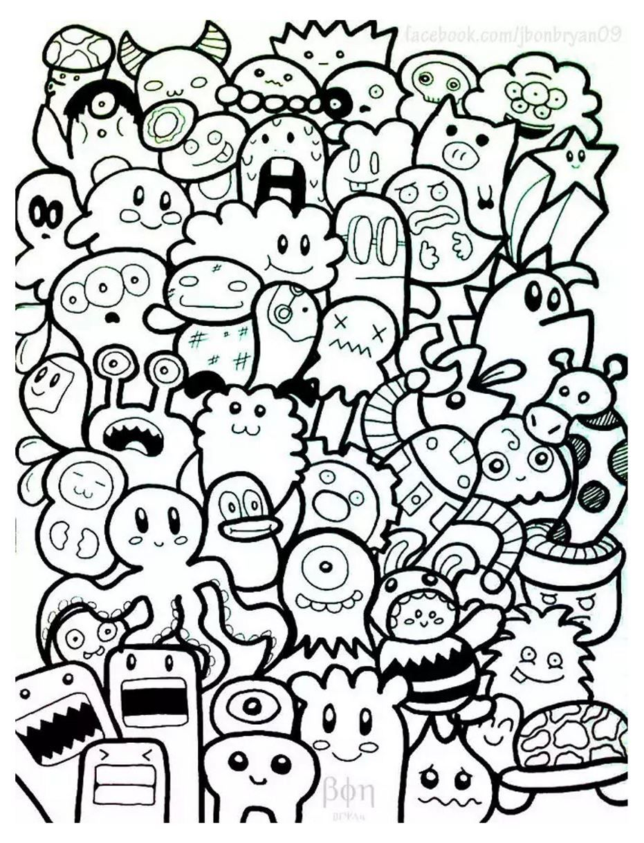 Simple Doodle Art For Beginners Colour Doodling Coloring Pages Adults