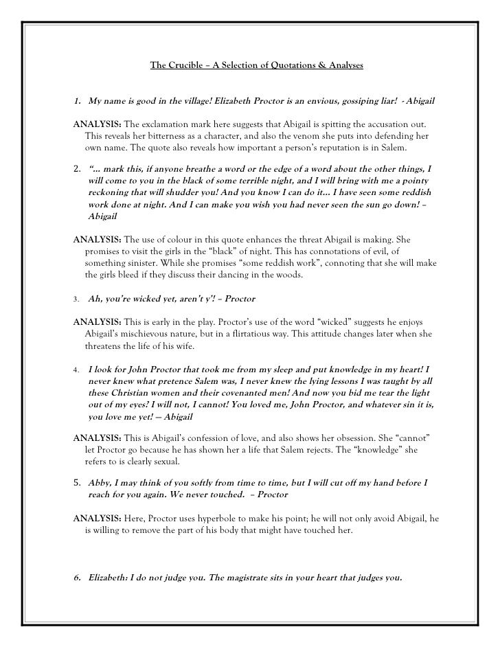 The Crucible - Quotations with analysis Teaching ideas Pinterest