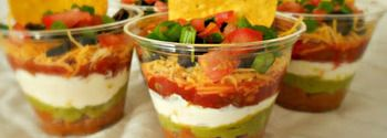 Individual Seven Layer Dip.. Cute and perfect for the germaphobe in me